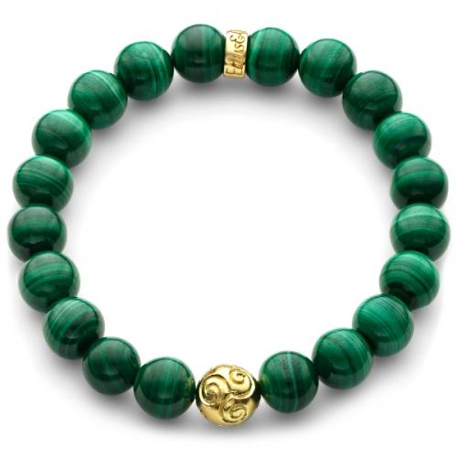 green malachite gemstone celtic bead bracelet in yellow gold