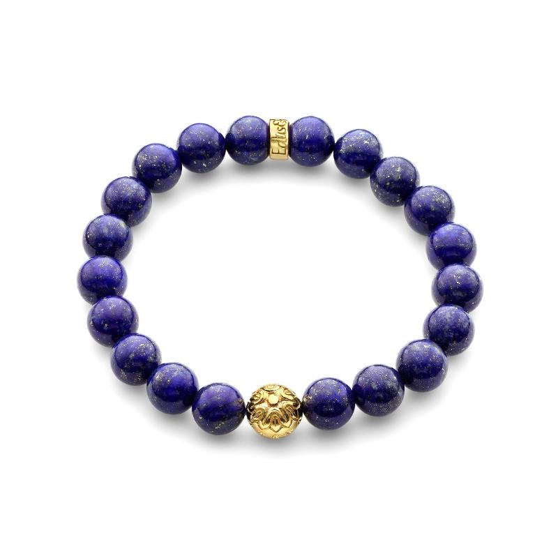 blue lapis lazuli gemstone bead bracelet in yellow gold