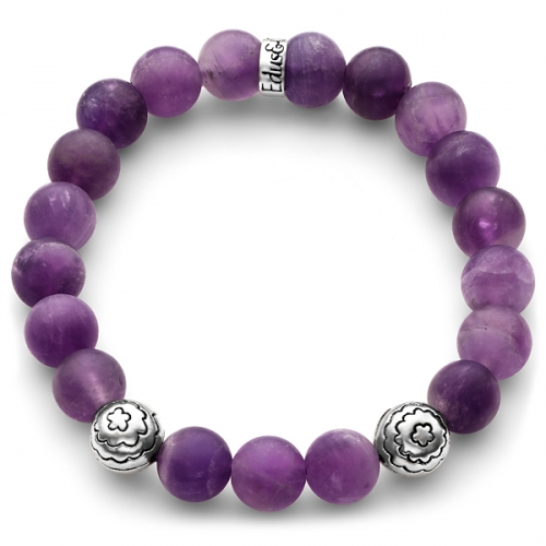 Matte Purple Amethyst Gemstone Flower Bead Bracelet in Silver