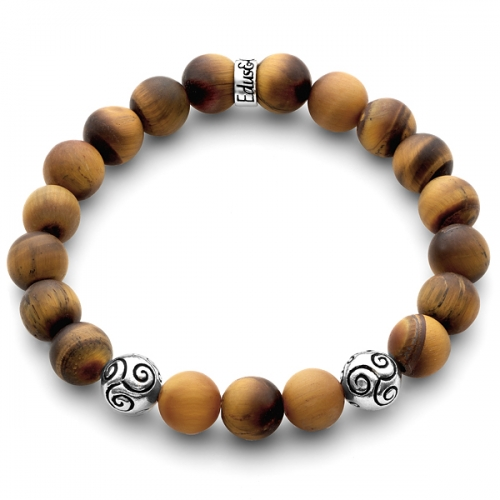 Matte Brown Tiger Eye Gemstone Celtic Bead Bracelet in Silver