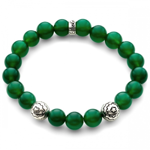 Green Onyx Gemstone Flower Bead Bracelet in Silver