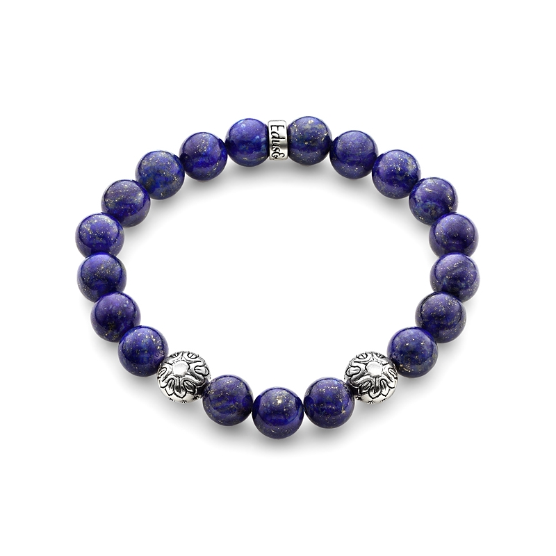 blue lapis lazuli gemstone bead bracelet in silver
