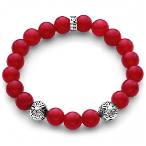 Red Jade Gemstone Star Bead Bracelet in Silver