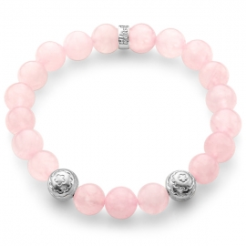 Pink Quartz Gemstone Flower Bead Bracelet in Silver