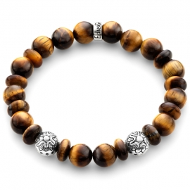 Brown Tiger Eye Gemstone Star Bead Bracelet in Silver