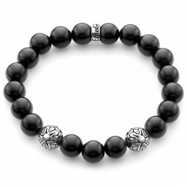 Black Onyx Gemstone Star Bead Bracelet in Silver