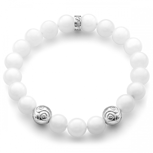 White Quartz Gemstone Celtic Bead Bracelet in Silver