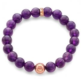 Purple Amethyst Gemstone Flower Bead Bracelet in Rose Gold