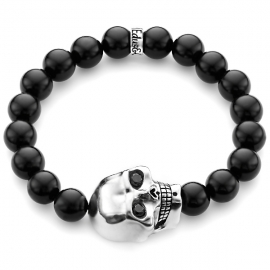 Black Onyx Bead Diamond Large Skull Bracelet in Silver