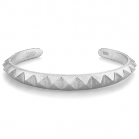 Matte Solid Pyramid Cuff Bracelet in Silver