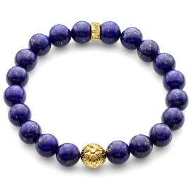 Blue Lapis Lazuli Gemstone Star Bead Bracelet in Yellow Gold