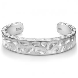 Matte Solid Camouflage Black Diamond Cuff Bracelet in Silver