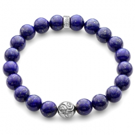 Blue Lapis Lazuli Gemstone Celtic Bead Bracelet in Platinum