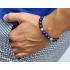 Blue Lapis Lazuli Gemstone Star Bead Bracelet in Silver