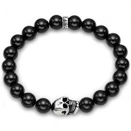 Black Onyx Bead Oxydized Skull Bracelet in Silver