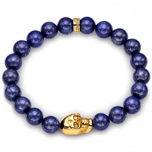 Blue Lapis Lazuli Gemstone Bead Skull Bracelet in Yellow Gold