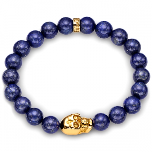 Blue Lapis Lazuli Gemstone Bead Skull Bracelet in Yellow Gold