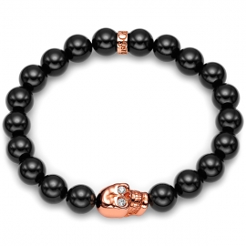 Black Onyx Bead Diamond Skull Bracelet in Rose Gold