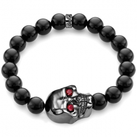 Black Onyx Bead Ruby Large Rhodium Skull Bracelet in Silver