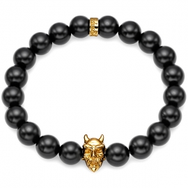 Black Onyx Bead Devil Bracelet in Yellow Gold