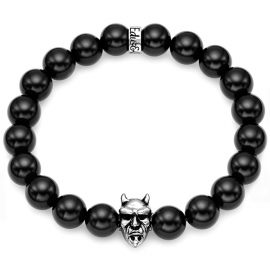 Black Onyx Bead Oxydized Devil Bracelet in Silver