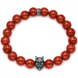 Red Carnelian Bead Black Rhodium Devil Bracelet in Silver