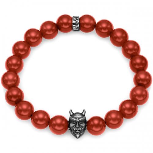 Red Carnelian Bead Black Rhodium Devil Bracelet in Silver