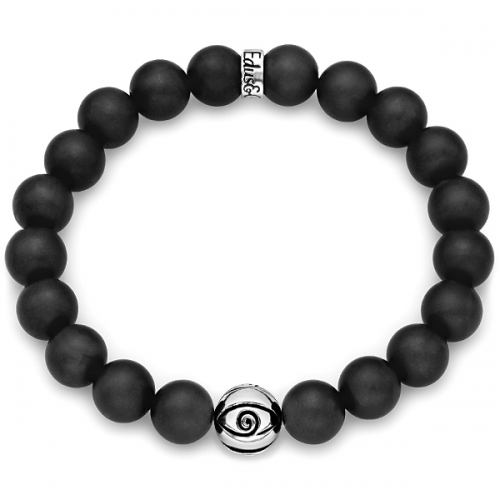 Matte Black Onyx Gemstone Evil Eye Bead Bracelet in Silver