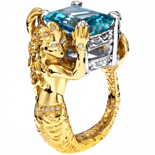 Mermaid Aquamarine Diamond Ring in 18K Yellow Gold & Platinum
